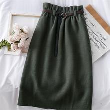 Вязаные юбки с высокой талией, прямые, осень, винтажные женские юбки с поясом, трапециевидная уличная одежда Харадзюку, базовые корейские юбки