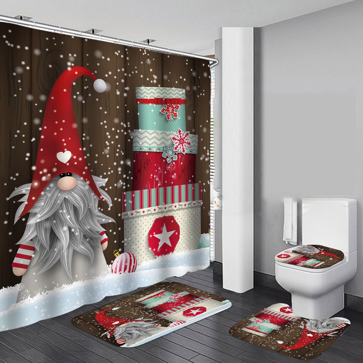 Christmas Fireplace Print Waterproof Bathroom Shower Curtain Toilet Cover Mats