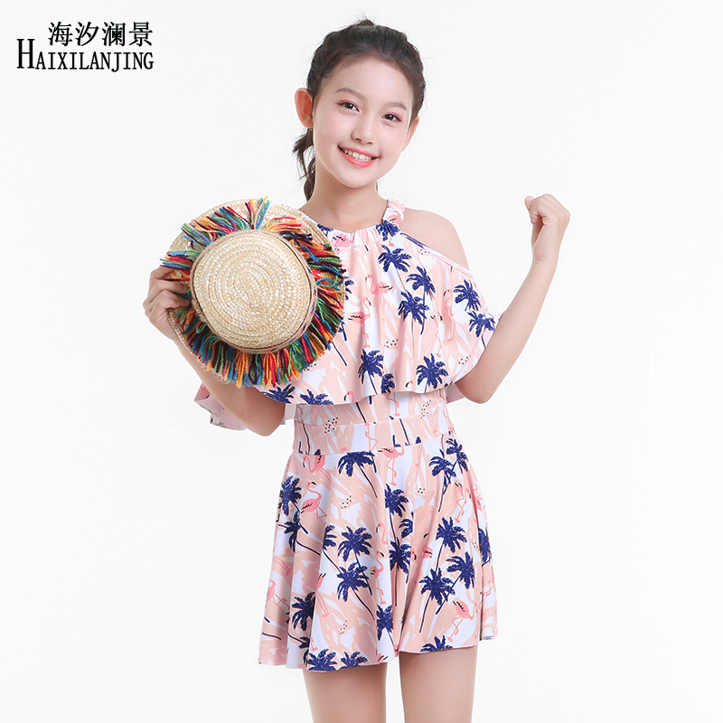 Hai Xi Lan Jing 2019 New Style Skirt One-piece GIRL'S Swimsuit Big Boy 12-15-Year-Old GIRL'S Students Bathing Suit