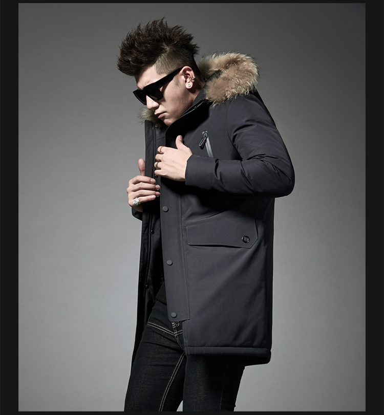 2019 Winter New Down Jacket Men's Long Hooded Collar To Keep Warm