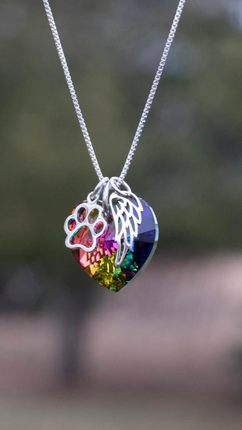 Ожерелье с радужной перемычкой потеря домашних животных-подарок потери домашних животных-памятник для домашних животных-памятный подарок ...