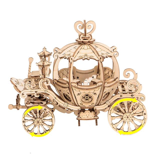 Robotime 3D Wooden Puzzle Games Assembly Pumpkin Cart Model Toys For Children Kids Girls Birthday Gift