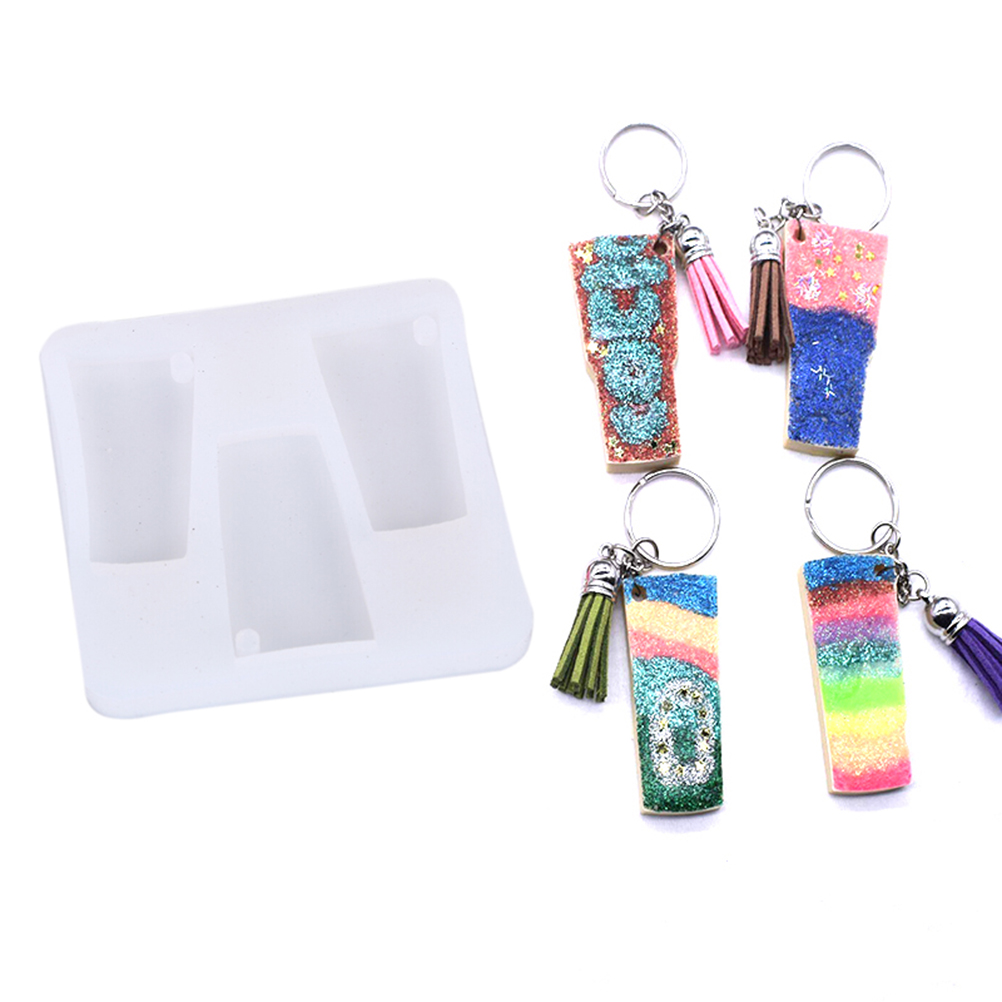 DIY Shiny Water Glass Shape Silicone Tumbler Mold For Keychains Perforated Moulds Polymer Clay Epoxy Resin Mold