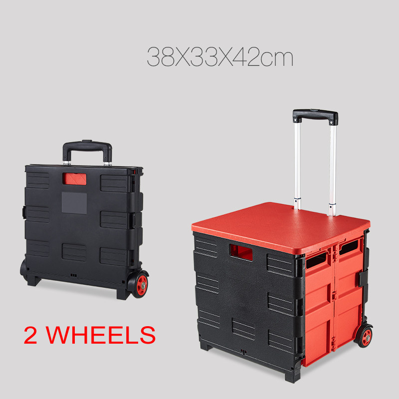 E-FOUR Folding Cart Wheel with Lid Cover Capacity Rolling Retractable Hand Cart Collapsible Grocery Folding Utility Car Storage