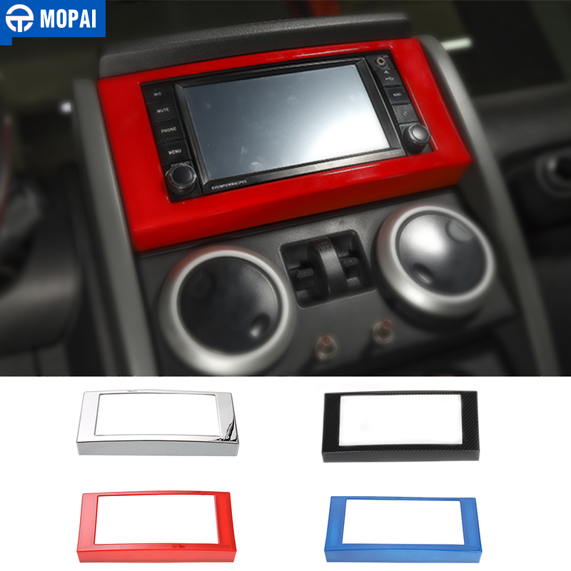 MOPAI Car Dashboard Navigation CD Panel Frame Decoration Cover Stickers for Jeep Wrangler JK 2007-2010 Car Accessories Styling