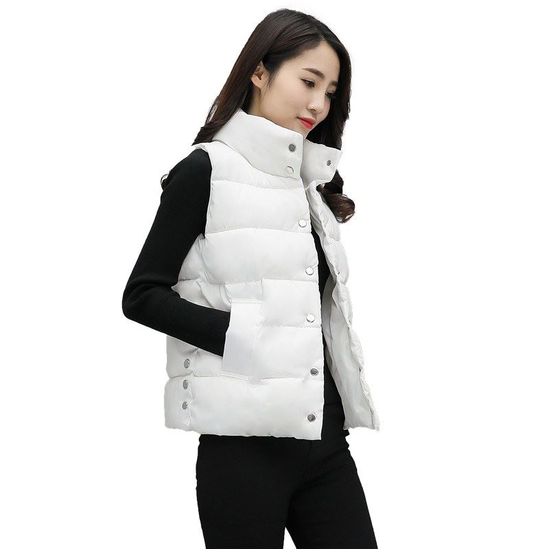 Warm Winter Women Vest Cotton Clothing Newest Cotton Short White Sleeveless Ladies Coats Wind Autumn And Winter Vests For Girls