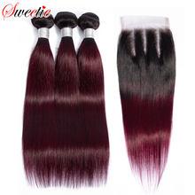 Sweetie-mechones ombré con cierre 1b/99J, mechones de pelo liso peruano, extensiones de cabello humano mechones Remy de colores con cierre de encaje
