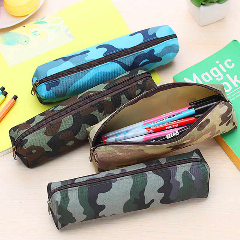 1pcs/sell Pencil Box Pencil Bag Concise Pencil Case Camouflage Stripe pattern School Supplies Stationery Gift Canvas Zipper