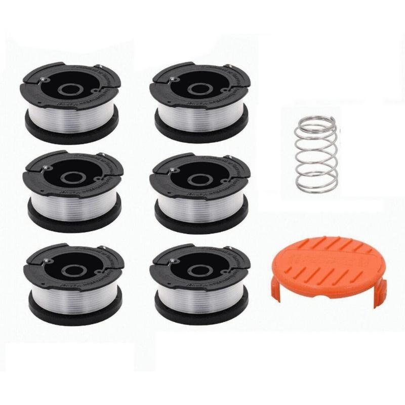 6pcs Black+Decker AF-100-3ZP Grass Trimmer Replacement Spool Line+Cap Cover