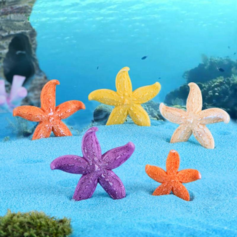Colorful Sea Star Starfish Shells Ornaments Mini Crafts Tablet Micro Landscape Decoration Fish Tank Accessories 1PC