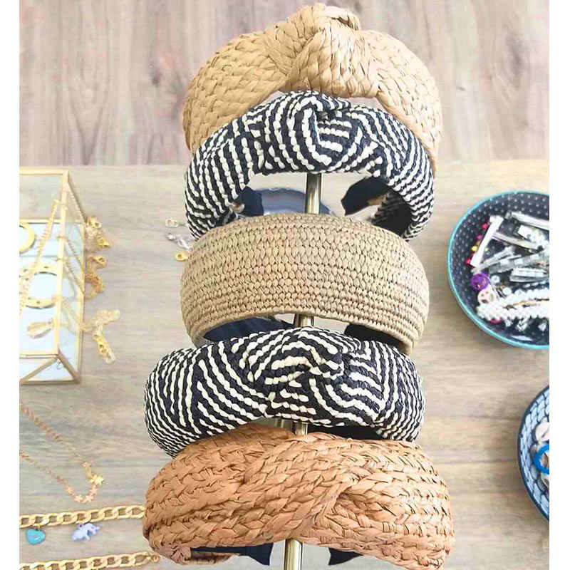Flatfoosie 2019 Bohemian Hairband Straw Weave Knotted Headband for Women Cross Handmade Hair Hoop Hairband Hair Accessories