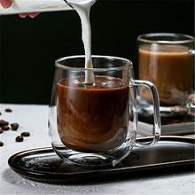 Термостойкая стеклянная чашка с двойными стенками, пивные кофейные чашки ручной работы, Кружка для здорового напитка, чайные кружки, прозрачная посуда для напитков
