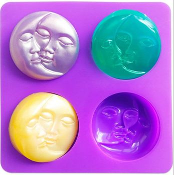 4 Cavity Crescent Moon Face Silicone Soap Mold for Homemade Lotion Bar Bath Bombs Polymer Clay DIY 1