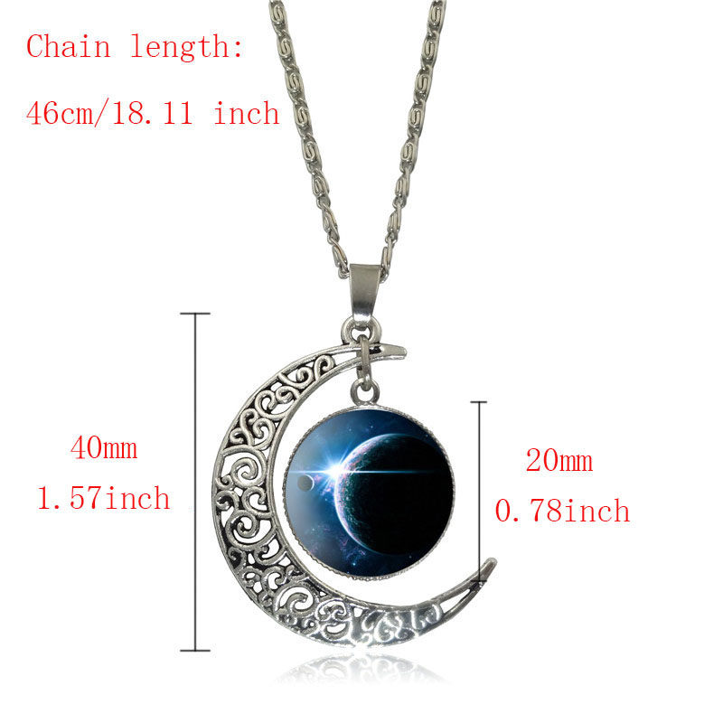 Belle galaxie nébuleuse croissant de lune collier à la main - Bijoux fantaisie - Photo 2