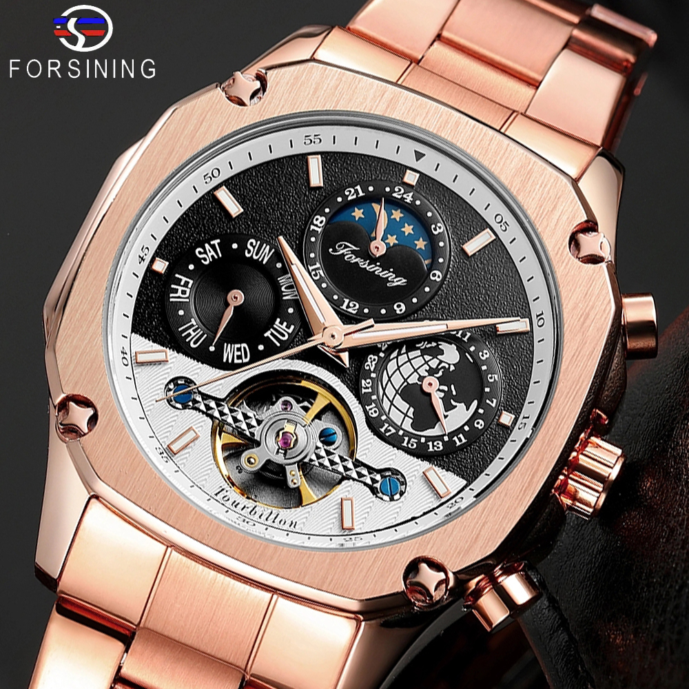 Forsining Brand Mens Mechanical Watches Super Grand Automatic Moonphase Tourbillon Earth Date Rose Gold Steel Belt Watch Relogio