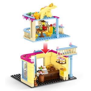 Image 2 - SEMBO Blocks Street Mini Shop CAKE STORE Building Bricks for Children Toy Super Market Kids Doll brinquedos Girls Boy Gifts