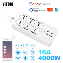 Wifi smart power strip Universal works with Bluetooth control alexa google home multi plug 6AC 4 USB voice contro UK/EU/US/AU
