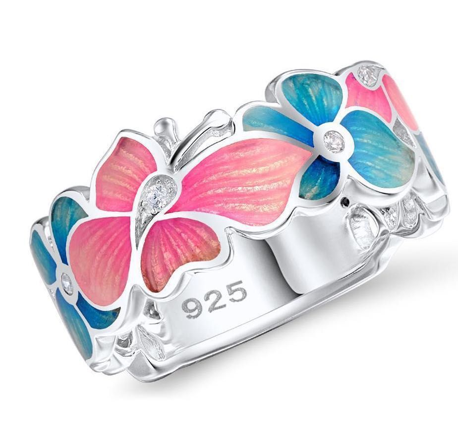 Charm Female Pink Blue Flower Ring Cute Luxury Butterfly Wedding Jewelry Promise Engagement Rings For Women