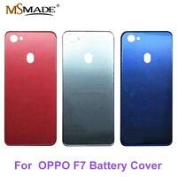 Original novo para oppo f7 voltar bateria capa porta habitação caso peças de vidro traseiro preto/vermelho/azul|Estojos de celular| |  -