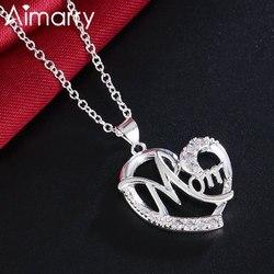 Aimarry 925 en argent Sterling bijoux de mode 18 pouces maman AAA Zircon coeur collier pour les femmes fête des mères cadeaux de fête d'anniversaire