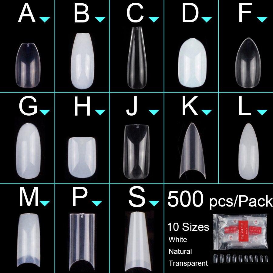 500pcs/bag Coffin Ballerina Nail Tips Long Stiletto False Nails Tips Full Cover DIY Acrylic Fake Nails 10 Sizes Nail Manciure