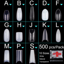 500pcs/bag Coffin Ballerina Nail Tips Long Stiletto False Nails Tips Full Cover DIY Acrylic Fake Nails 10 Sizes Nail Manciure