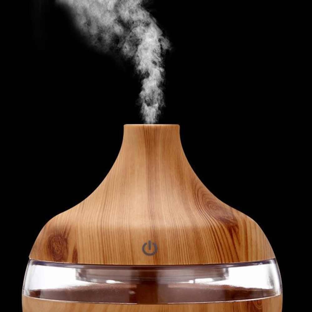 300 مللي الخشب الحبوب زيت طبيعي الروائح الناشر USB شحن المنزل الهواء المرطب تنقية مهدئا LED ليلة ضوء ضباب صانع
