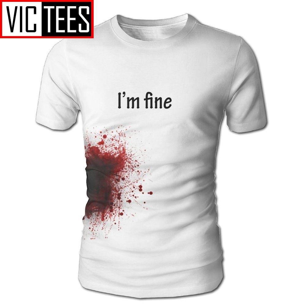 Men s I m Fine Blooded T Shirt 100 Polyester Man Printed Tees Fashion T Shirt