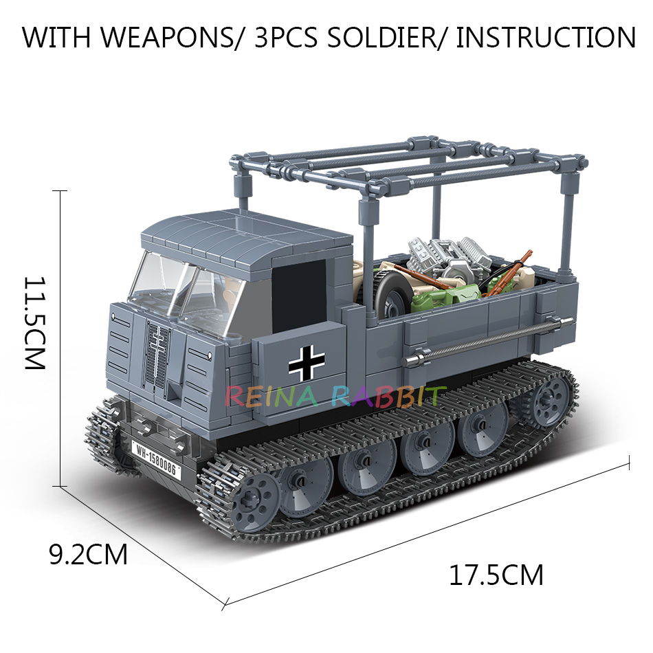 Image 5 - 551PCS German Army RSO Armored Truck with Weapon Soldiers Military Vehicles Building Blocks Compatible WW2 Figures ToysBlocks   -