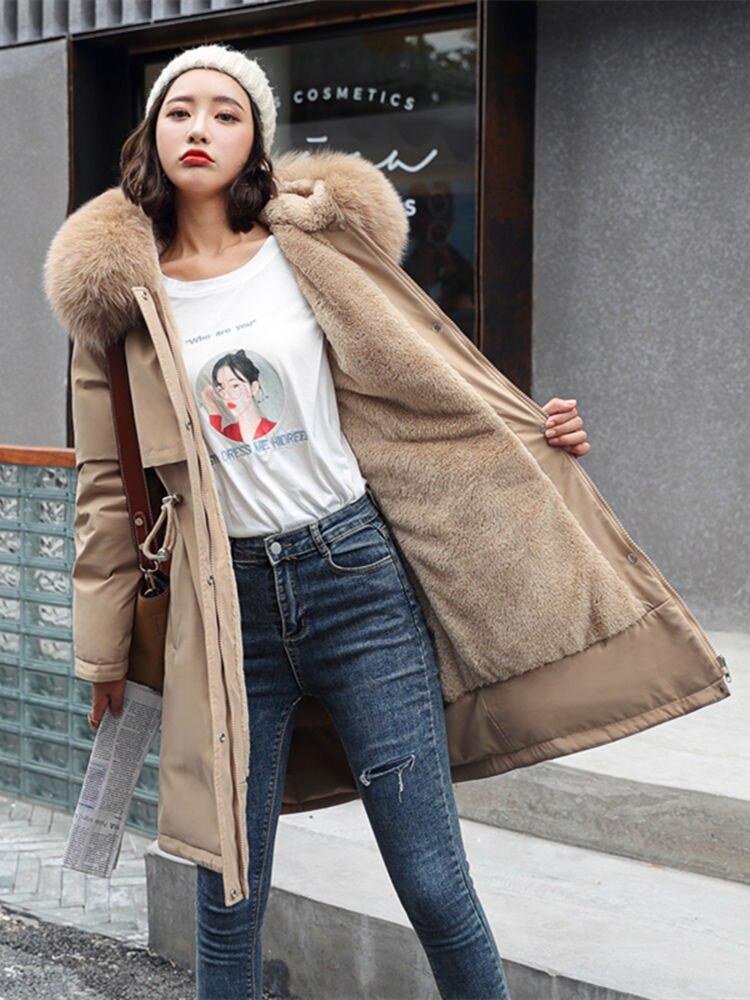 Winter Jacket Parka-Coat Liner Hooded Waist-Fur-Collar Long Fashion Women Cotton Adjustable