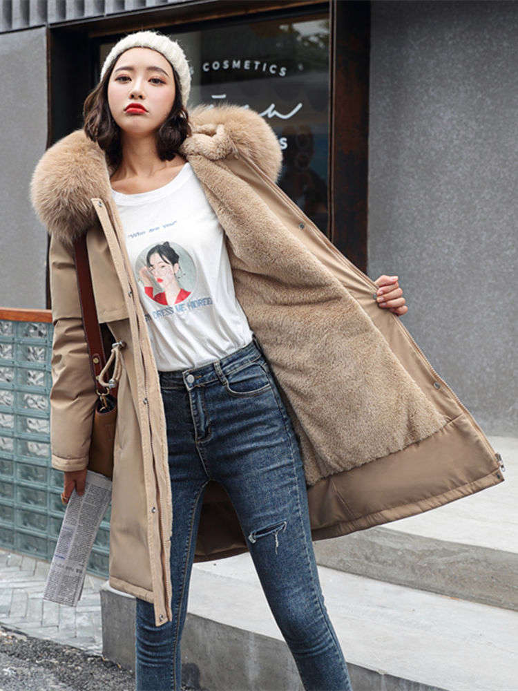 Winter Jacket Parka-Coat Liner Hooded Waist-Fur-Collar Long Medium Fashion Women Cotton