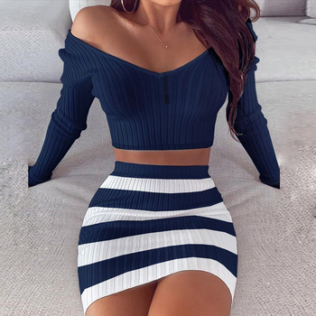 Striped V Neck Slim Knit Soft Summer Dress 19