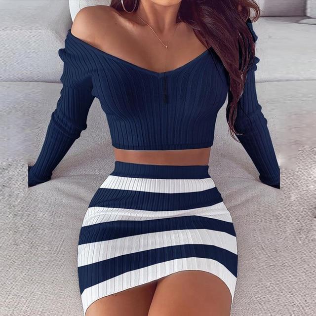 Striped V Neck Slim Knit Soft Summer Dress 19