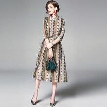 Для женщин летнее платье Цветочный принт A-Line платье длиной до середины голени, однобортные платья Офисные женские туфли рукав «три четверти», платье с принтом