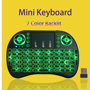 i8 Mini Wireless Keyboard Backlit Spanish Version 7 color Keyboard 2.4G with Touchpad Remote Air Mouse for Android TV BOX PC