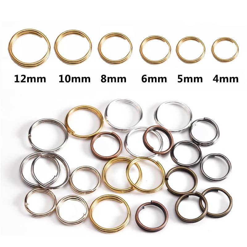 200 teile/los 4 6 8 10 12 mm Öffnen Sprung Ringe Doppel Loops Gold Silber Farbe Split Ringe Connectors Für schmuck Machen Liefert DIY