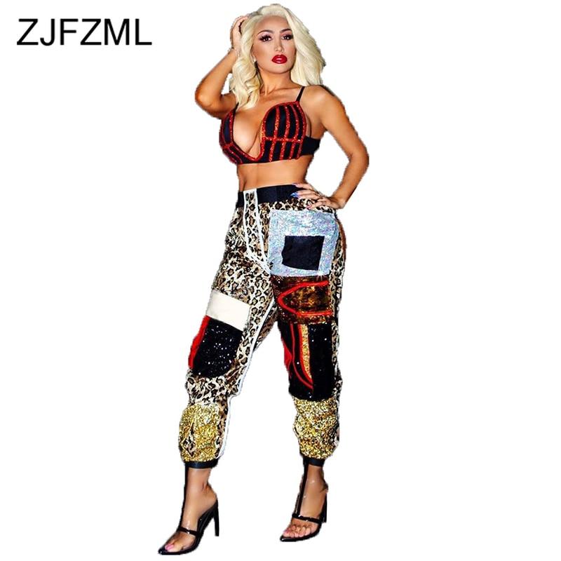 Sexy Leopard Panelled Straight Pants For Women High Waist Slim Autumn Winter Sweatpants Streetwear Parties Plus Size Long Jogger