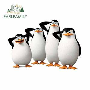 EARLFAMILY 13cm x 8.9cm For Penguins Motorcycle Car Stickers Scratch-Proof Decal Occlusion Scratch Custom Printing Decor