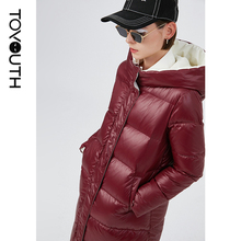 Toyouth Women Casual Style Thickening Duck Down Jackets Winter Green Blue Warm Coat Solid Long Overcoat