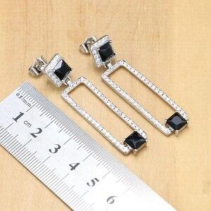 Image 4 - Ensembles de bijoux de mariée en argent 925, pierres noires, cristal blanc, boucles doreilles, pendentif, collier, bagues, Bracelet, pour dames