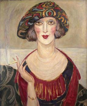 9 Hand Painted Art Paintings by College Teachers - Smoking Portrait Gerda Wegener female painter - Oil Painting on Canvas image