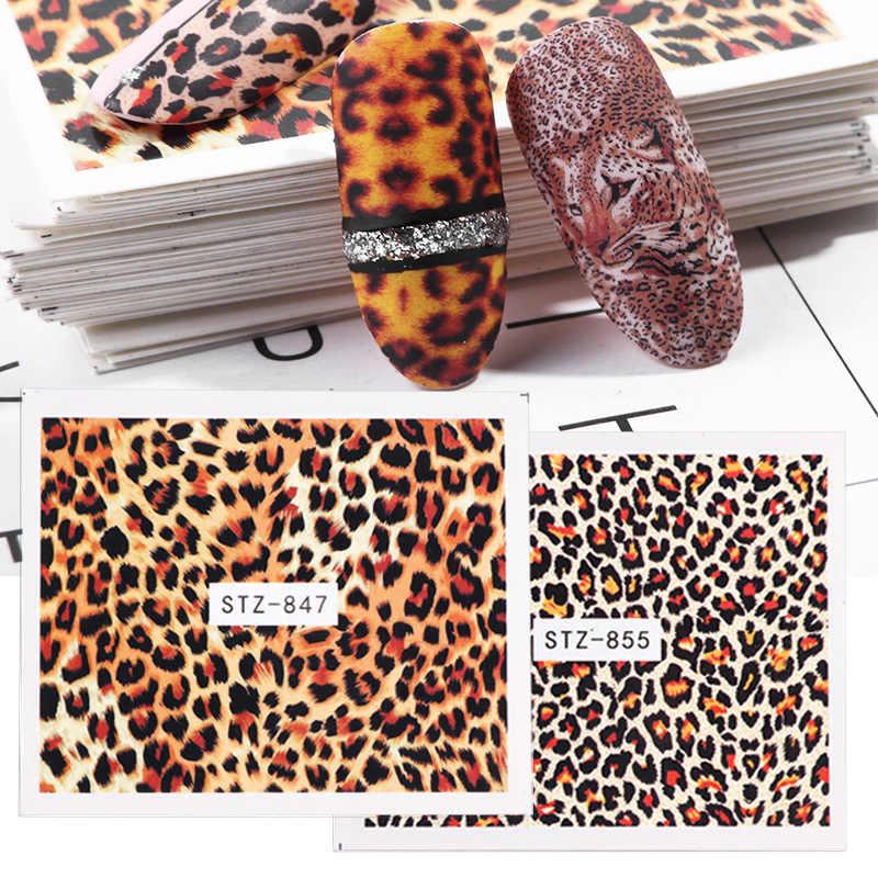 1Pcs Sexy Leopard Kuku Seni Air Transfer Stiker Hewan Pesona DIY Penuh Bungkus Slider Manikur Dekorasi Aksesori BEB304