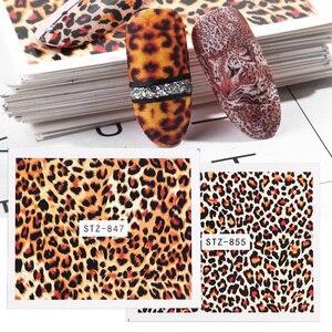 Image 5 - 1pcs Sexy Del Leopardo Unghie Artistiche Adesivi di Trasferimento di Acqua Decalcomanie Animale di Fascino Fai Da Te Involucro PIENO Cursore Manicure Della Decorazione di Accessori BEB304
