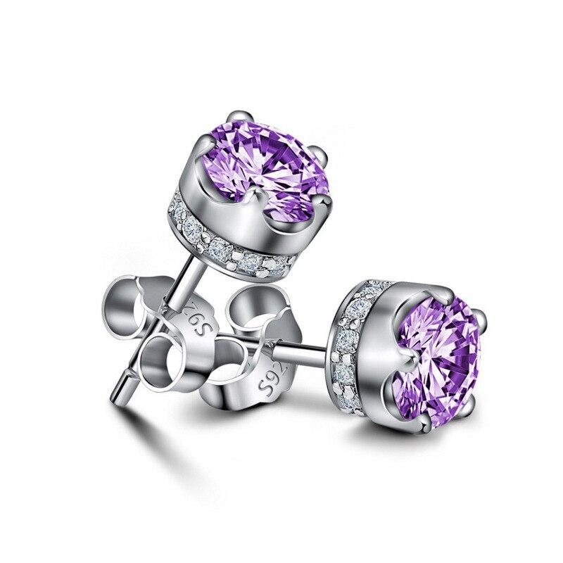 PANDACH 100% 925 Sterling Silver Crown Zircon Stud Earrings For Women White & Purple Silver Earrings Fashion Jewelry E1004