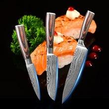 Набор японских кухонных ножей шеф повара комплект из 3 дамасской