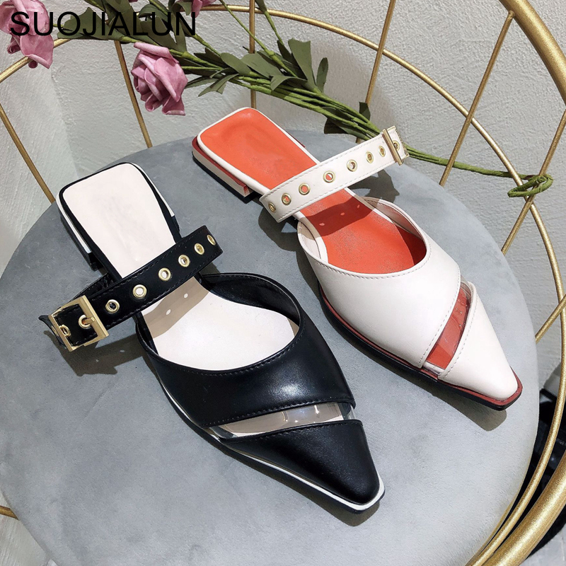 SUOJIALUN 2020 Brand Spring Summer Slippers Slip On Casual Slip On Sandal Slippers Fashion Metal Buckle Outdoor Mules Slippers