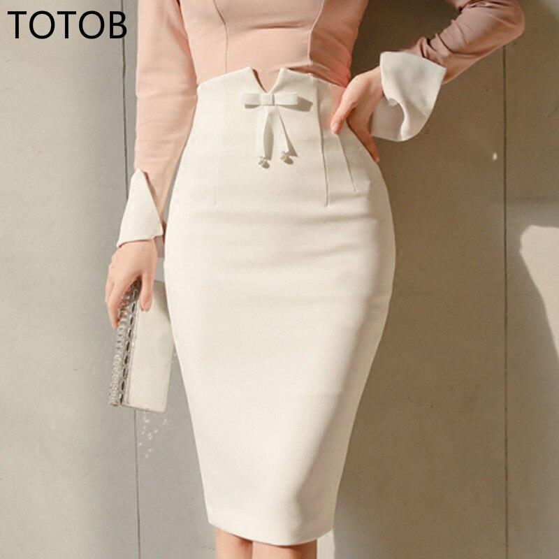 20202 Plus Size Office Ladies High Waist Bow White Women Pencil Skirt Sexy Hip Package Femme Skirt Work Business Women Skirt