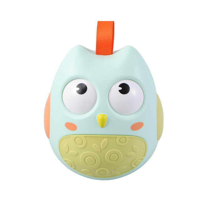 Adorable Owl Toy Funny Rattle Toy Car Seat Stroller Toys Roly-Poly Educational Music Rattle Toys for Boys Girls Kids (Light Gree