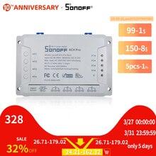 Itead sonoff 4CH プロ R2 433mhz 4 チャンネルギャング rf ワイヤレスリモート wifi スマートスイッチインチングインターロックリレー alexa google ホーム