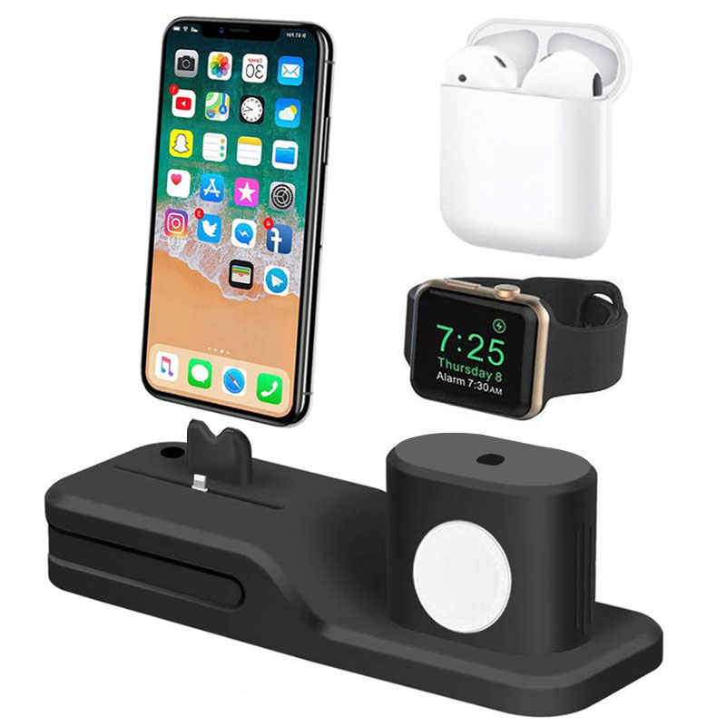 Base base de carga 4 en 1 para Apple Watch base de carga para iPhone X 7 8 6 6s plus 5 5S